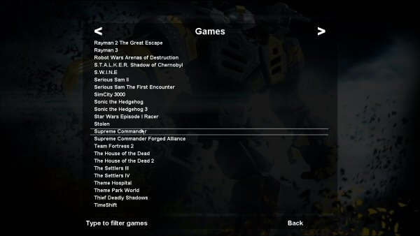 The GameList accessable on any interface within gamemanager shows your games in a large list along with the background of that game