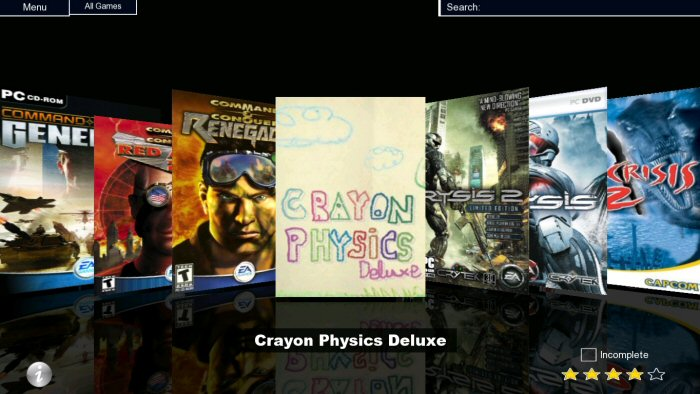 Photon Game Manager's Cover flow interface